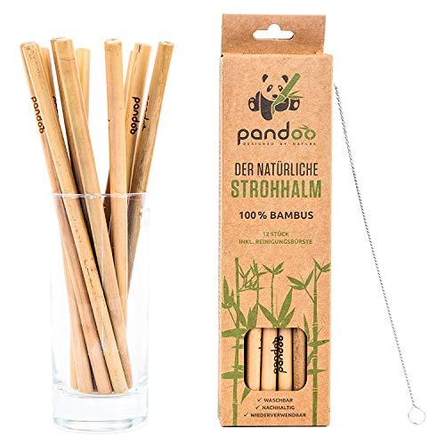 pandoo® ♻ 12er-Pack Strohhalme aus 100% Bambus inklusive Reinigungsbürste | wiederverwendbare & umweltfreundliche Trinkhalme | 100% biologisch abbaubar