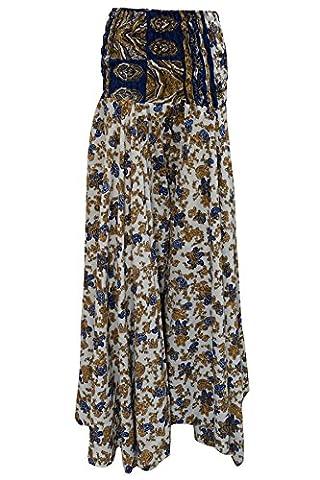 Mogul Interior Womens Divided Skirts Paisley Print Vintage Silk Sari Smocked Waist Long Skirt