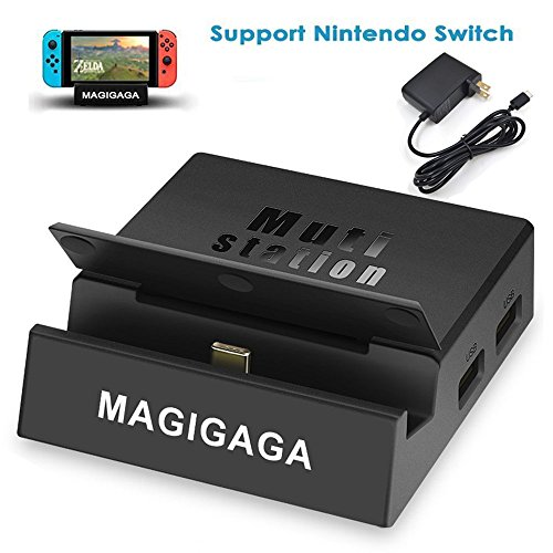 MAGIGAGA HDMI USB C Hub Adapter für Nintendo Schalter Tragbar Dock mit HDMI Ausgang, USB-Ports Kartenleser perfectable Original Nintendo-Schalter Laden Dock Dock+Adapter