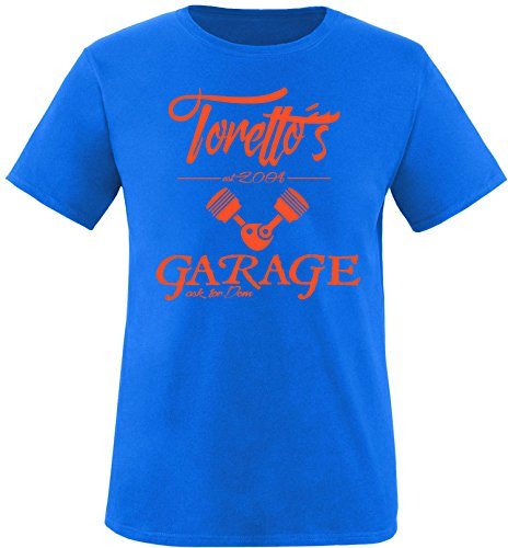 EZYshirt® Toretto´s Garage Herren Rundhals T-Shirt Royal/Orange