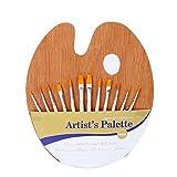 Oyfel Palette en bois avec ensemble de pinceaux en bois de 12 pièces Ensemble de...