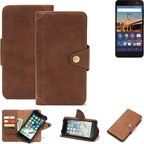 K-S-Trade Handy Hülle für General Mobile 4G Schutzhülle Walletcase Bookstyle Tasche Handyhülle Schutz Case Handytasche Wallet Flipcase Cover PU Braun (1x)
