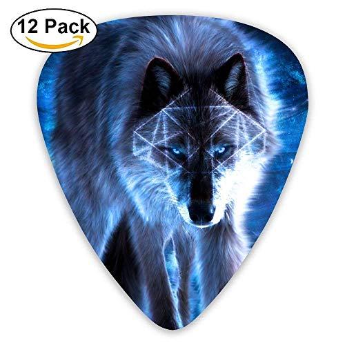 Blue Fire Wolf Classic Guitar Picks (12 Pack) Gifts for Men Women Teens Kids