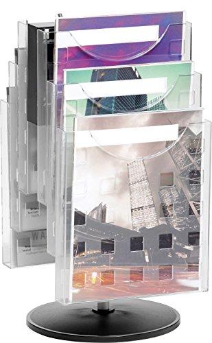 Helit H6255702 - Tischprospekthalter drehbar 'the turn grid' 6 x DIN A4, glasklar