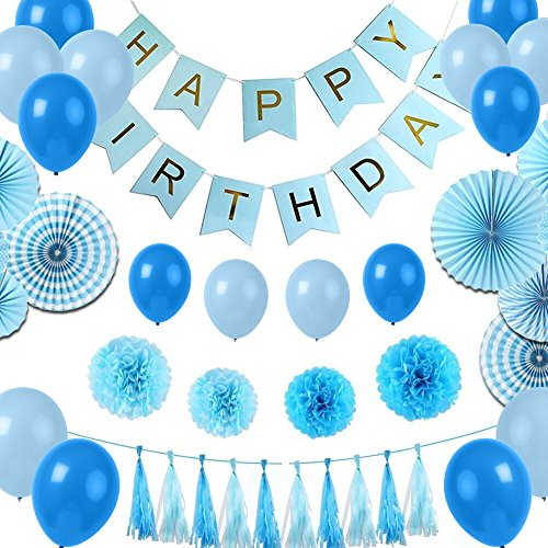 mer Geburtstag Dekoration Set 31 Deko Zubehör Happy Birthday , Genmer Geburtstagsparty Dekoration für Mädchen und Jungen Jeden Alters - Blau, Hellblau und Gold (Dekoration Für Geburtstagsparty)