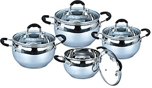 Uniware Stainless Steel Cookware Set (8 Pcs (1.8 QT  2.5 QT and 3.4 QT 5.5QT Sauce Pot))