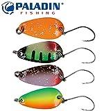 4 Paladin Trout Spoon 2,3cm 1,8g Forellenblinker zum Angeln im Bach, Blinker für Forellen, Kunstköder zum Forellenangeln, Spinner