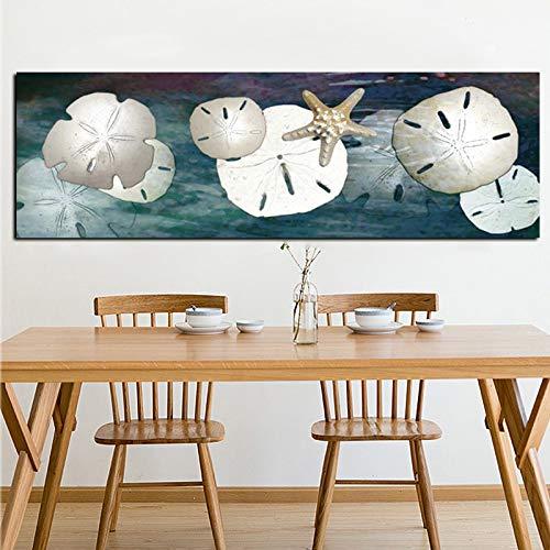 Leinwand Kunst Abstrakte Stillleben Seestern Sand Dollar Ölgemälde Poster Und Drucke Moderne Landschaft Wandbild Für Wohnzimmer 40 * 120 cm (Sand-dollar-kunst)