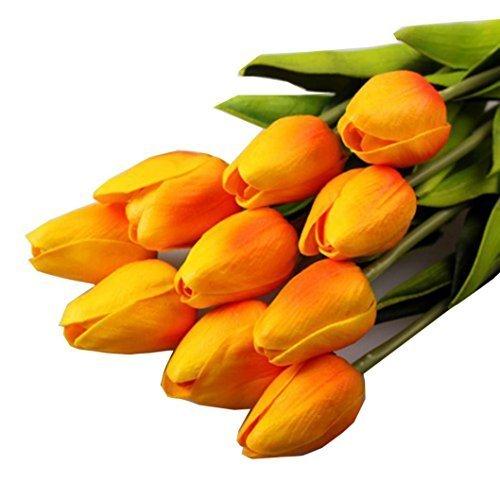elegantstunning Mini Tulip Blume Hochwertige Hochzeit Blume Künstliche Seidenpflanzen für Zimmer Haus Party Weihnachtsgeschenk Dekoration (orange) 10St.