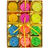 Desert Town® Diwali Decoration 12 Pc. Multicolor Rose Design Floating Candle Set