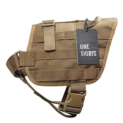 OneTigris Molle Kompakte Hundegeschirr Taktische Hundetrainings Weste Harness Brustgeschirre (Khaki, M) - 3