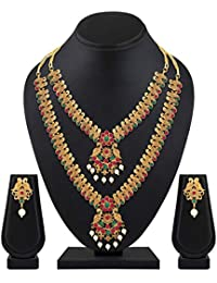 Shining Diva Fashion Latest Combo Design Pearl Necklace Set for Women Traditional Gold Plated Jewellery Set for Women (Multicolor) (10599s)