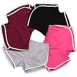 Mujeres Deportes Gimnasio Ejercicio Cintura Flaca Yoga Pantalón Corto Pantalones Retro Cortos Verano Shorts Casuales (Verde del ejército, EU XL=Tag 3XL (Cintura 68-74cm))