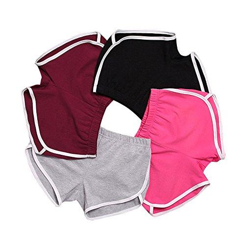 Elastische Taille Kostüm Samt - Mangotree Damen Sport Shorts Retro Shorts Aktiv Yoga Shorts Hose mit Farbig Abgesetzen Rändern (EU M=Tag XL (Taille: 62-66cm), 4 Stück)