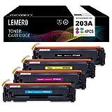4 LEMERO Compatible HP 203A 203X CF540A CF541A CF542A CF543A CF540X Color Cartuchos de Toner para HP Color Laserjet Pro M254dw M254nw MFP M281FDN M281FDW M280NW (Negro, Cian, Magenta, Giallo)