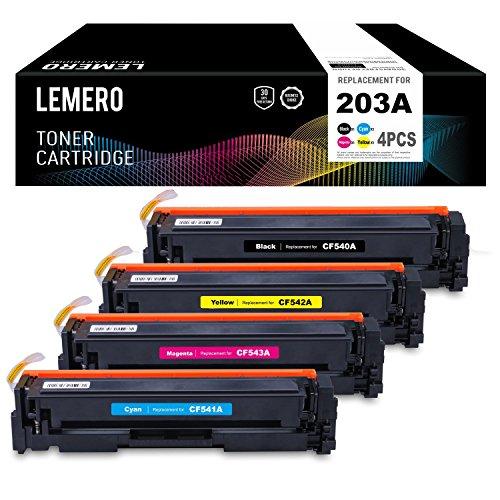 LEMERO 4 Cartuchos de Toner 203A 203X CF540A - CF543A CF540X Compatible para HP Color Laserjet Pro M254 M254dw M254nw MFP M281 M281CDW M281FDN M281FDW M280 M280NW