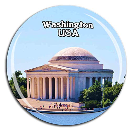Thomas Jefferson Memorial Washington Amerika USA Kühlschrankmagnet 3D Kristallglas Tourist City Travel Souvenir Collection Geschenk Stark Kühlschrank Aufkleber