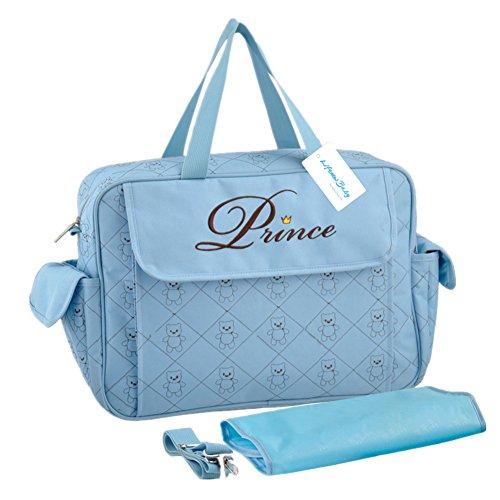 Großer Mummy Tasche Baby Windel Windel Wickeltasche Mama Handtasche Umhängetasche Schultertasche mit verstellbarem Riemen blau