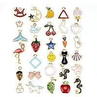 Febelle 30pcs/lot en émail Mignon Styles Charm Pendentifs DIY Bijoux pour la création de Collier Bracelet et Artisanat coloré