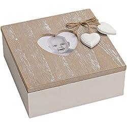 Holzbox mit Deckel, Holzkiste, Dekobox, Aufbewahrungsbox Holz weiß/beige Bild