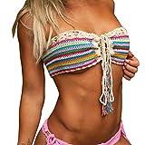 Badeanzug Damen Yesmile Geschenk Häkeln Hohl Bralette Stricken BH Boho Strand Bikini Cami Tank Crop Top Draht Frei Gestreiften Bikini (M, Mehrfarbig)
