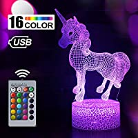Unicorn Gift Unicorn Night Light for Kids, 3D Light lamp 7 Colors Change with Remote Holiday and Birthday Gifts Ideas for Children (Unicorn)