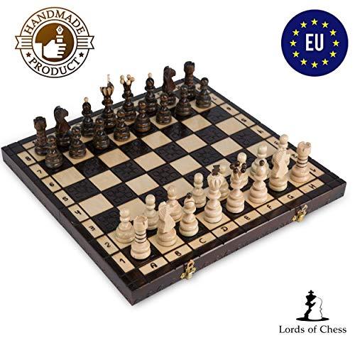 Amazinggirl Schachspiel groß Schach Holz Schachbrett - Chess Set für Kinder hochwertig klappbar mit Figuren Antik 42 cm