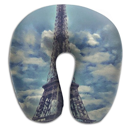 Bikofhd Neck Pillow Eiffel Tower Picture Travel U-Shaped Pillow Soft Memory Neck Support for Train Airplane Sleeping Unisex14 (Tower Zubehör Cat)
