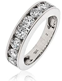 1.50CT Certified G/VS2 Round Brilliant Cut Channel Set Half Eternity Diamond Ring in 18K White Gold