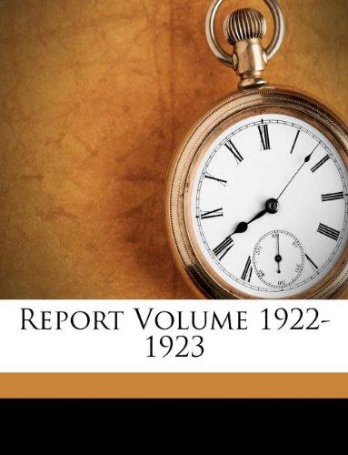 Report Volume 1922-1923