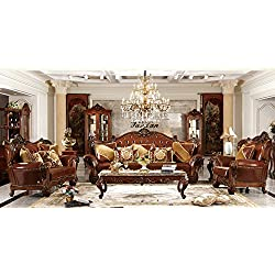 Ma Xiaoying piel auténtica, madera maciza, marco de madera tradicional Collection juego de muebles de salón (sofá, Loveseat y silla y 2tables), marrón oscuro, por Ma Xiaoying