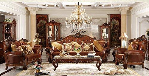 Ma Xiaoying echtes Leder, Massivholz Buche Rahmen, traditionellen Collection Wohnzimmer Möbel Set (Sofa, Liebesschaukel und Stuhl und 2tables), Dunkelbraun by - Leder Traditionellen Sofa