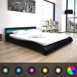 Festnight Cadre de lit en Cuir synthétique avec LED 160 x 200 cm Noir