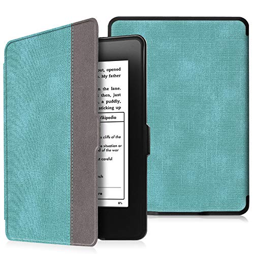 Fintie Kindle Paperwhite Hülle - Die dünnste und leichteste Schutzhülle Tasche mit Auto Sleep/Wake für Amazon Kindle Paperwhite (alle Generationen), Jeansoptik Türkis