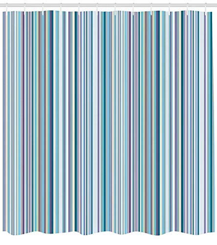 GONIESA Striped Shower Curtain, Blue Purple Teal Aqua Lavender Colored Vertical Stripes Geometric Abstract Vintage, Fabric Bathroom Decor Set with Hooks, 60 * 72inch Extra Wide, Multicolor -