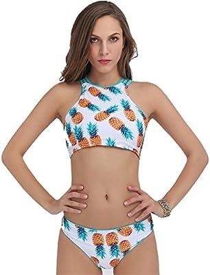 XIAOMIN Las mujeres Piña Impresión del bikini establece dos piezas de la correa de hombro traje de baño Traje de baño