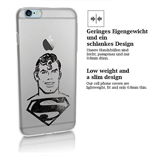 "finoo | iPhone 7 Plus Hard Case Handy-Hülle ""Superman"" Motiv | dünne stoßfeste Schutz-Cover Tasche mit lizensiertem Muster | Premium Case für Dein Smartphone| Superman vector black Superman face black transparent"