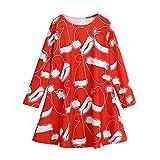 KanLin1986 Abbigliamento per bambini autunnali e invernali Bambino neonato cappello a maniche lunghe vestito di Natale della principessa (Rosso, 6-7T----130cm)
