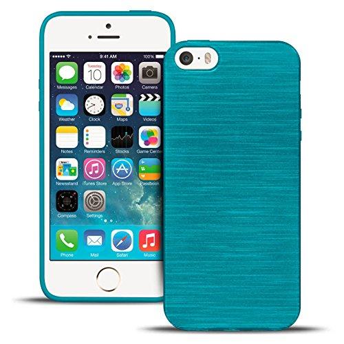 Hülle für Apple iPhone 5 / 5S / SE Slim Schutzhülle Cover Case Silikon Bumper Silverback - Türkis Metallic