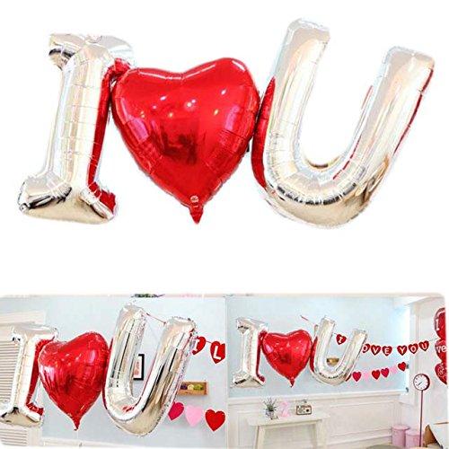 Yalulu 40 Zoll Foil I LOVE U Buchstaben Ballon für romantische Hochzeit, Valentinstag, Brautdusche, Jahrestag und Verlobungsfeier Dekoration (Buchstaben-ballons Valentinstag)