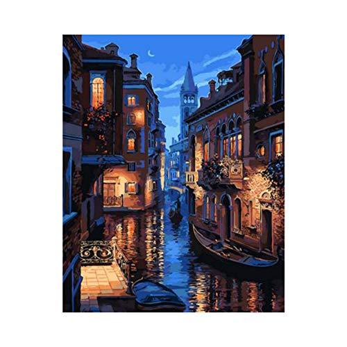 lixb Malen nach Zahlen Handgemalte Frameless Modular Avatar DIY Digital Gemälde Ölgemälde Venedig Stadtmauer Moderne Kunst Malerei 40x50 cm