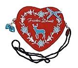 Damen Dirndltasche - Trachtentasche Herz Umhängetasche - Herztasche zum Dirndl (Fesches Dirndl Hirsch türkis (rot))