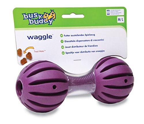 PetSafe Busy Buddy Waggle Hundespielzeug, mit Rillen, langlebiges Kauspielzeug aus Kautschuk für Zahnpflege, Hundeknochen, schadstofffrei, für mittelgroße und große Hunde, M/L