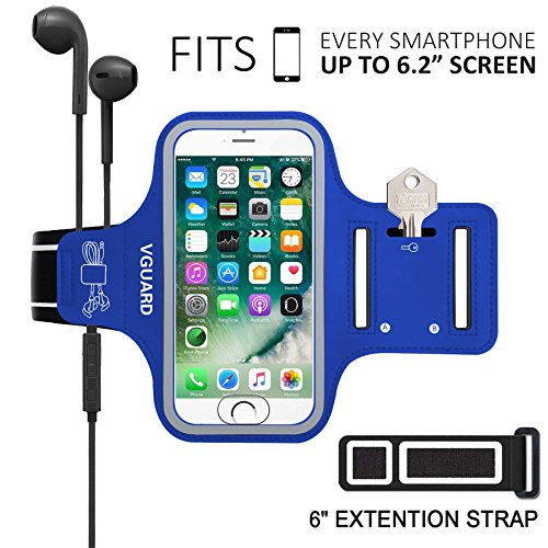 """VGUARD Fascia da Braccio Sportiva Universale 6.5"""" Resistente Sweatproof Fascia per Corsa&Esercizi con Cinturino Fascia da Braccio per Smartphone, Huawei P20, iPhone 11 Pro/11/X, Samsung S9(Blu Scuro)"""