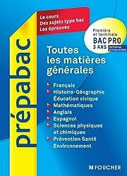 Toutes les matières générales Bac Pro 3 ans tertiaires et industriels.