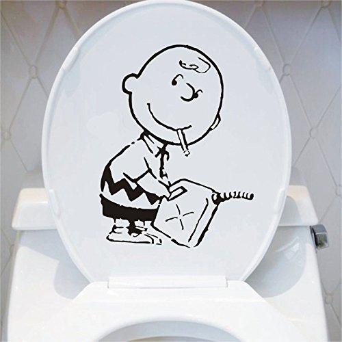 hllhpc Banksy Charlie Brown Wandkunst Aufkleber Abziehbild Niedlichen Cartoon Wc Dekoration Zubehör Schwarz 5ps 20 * 26cm