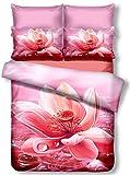 DecoKing Premium 00762biancheria da letto 155x 220cm con 1federa 80X 80amaranto 3d in microfibra completo letto lenzuola fiori motivo floreale rosa pink nectario