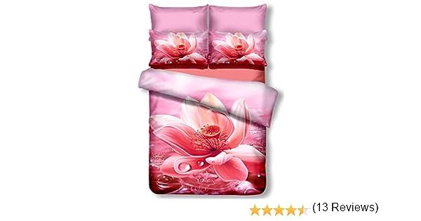 DecoKing Premium 00779/Parure de lit 200/x 200/cm avec 2/taies doreiller de 80/x 80/Amarante 3D en Microfibre Housse de Couette Parure de lit Fleurs Motif Floral Rose Rose nectario