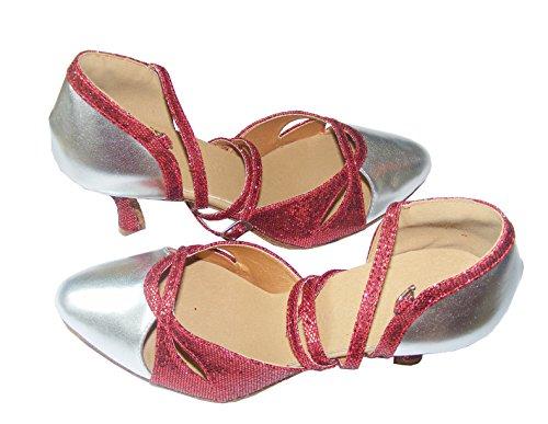Pobofashion , Chaussons de danse pour femme Argent Argent Argent - Silber+rotem Glitzer