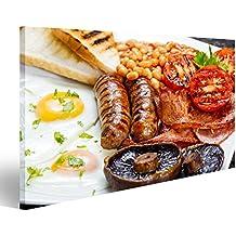 Cuadro Cuadros desayuno completo Inglés de tocino, salchichas, huevo frito, frijoles y setas al horno. Impresión sobre lienzo - Formato Grande - Cuadros modernos FAX